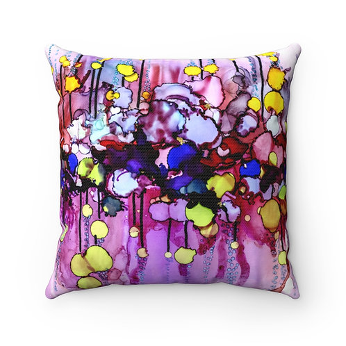 Spun Polyester Square Pillow with Original Alcohol Ink Painting Pink Blue Yellow