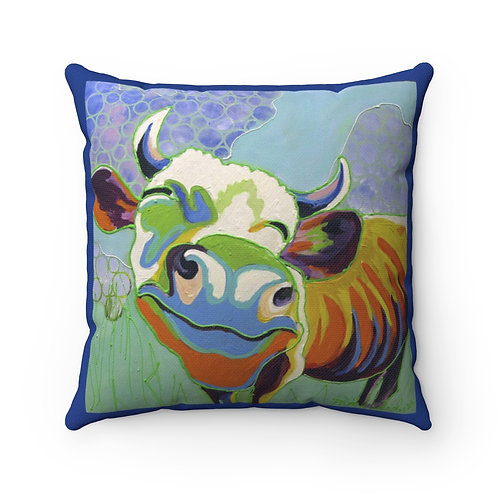 Spun Polyester Square Pillow with Original Painting of Smiling Cow