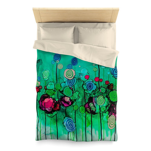 Microfiber Duvet Cover with Original Alcohol Ink Painting of Lollipops Teal