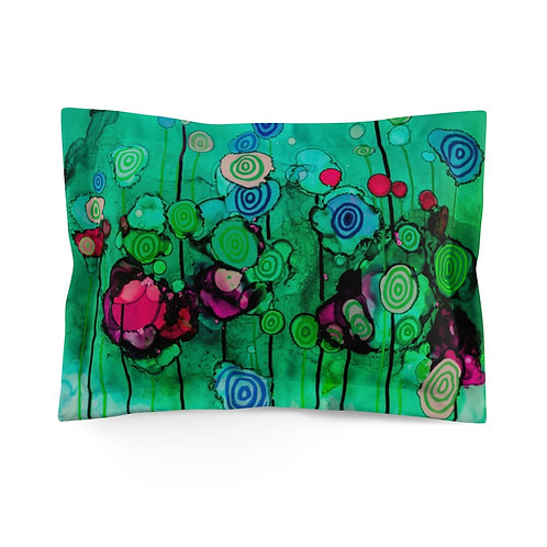 Microfiber Pillow Sham - with Original Alcohol Ink Painting of Lollipops Teal