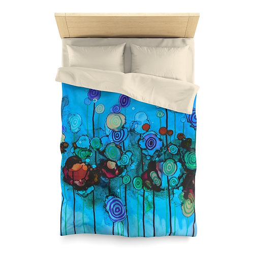 Microfiber Duvet Cover with Original Alcohol Ink Painting of Lollipops Blue