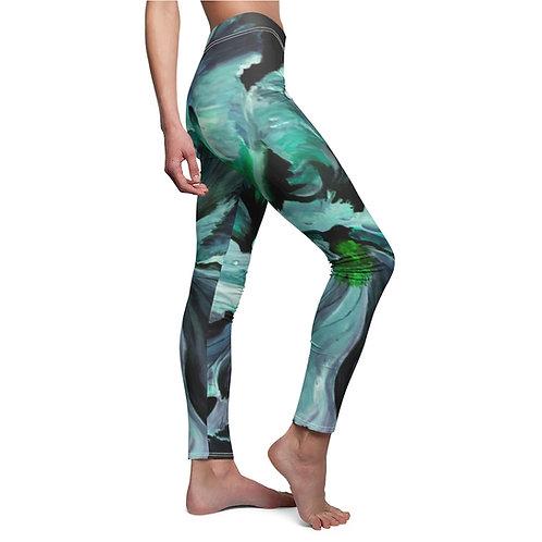 Women's Cut & Sew Casual Leggings with Original Painting of Teal Iris