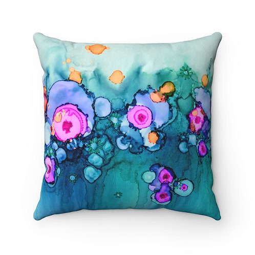 Spun Polyester Square Pillow with Original Alcohol Ink Painting of Spots