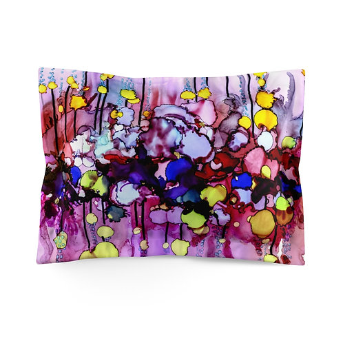 Microfiber Pillow Sham with Original Alcohol Ink Painting of Bubbles