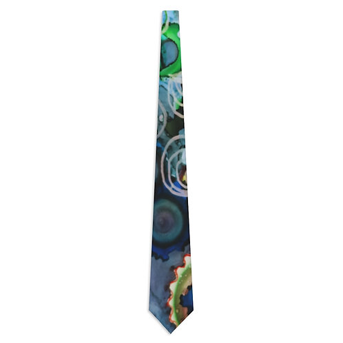 Necktie with Original Art by Rita - Navy Blue Pattern