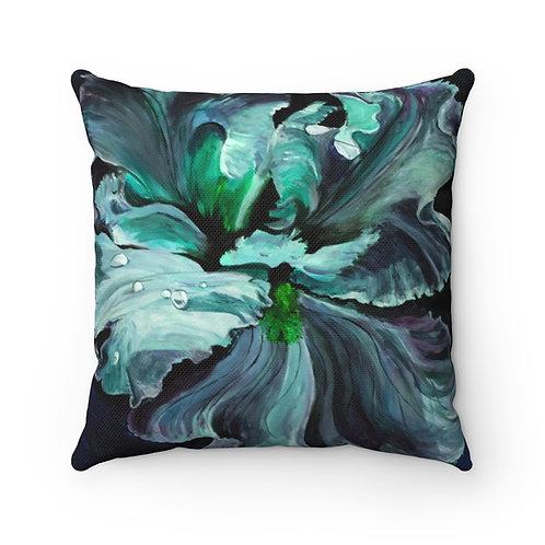 Spun Polyester Square Pillow with Original Painting of Iris