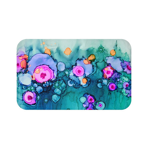 Bath Mat with Original Alcohol Ink Painting - Blue