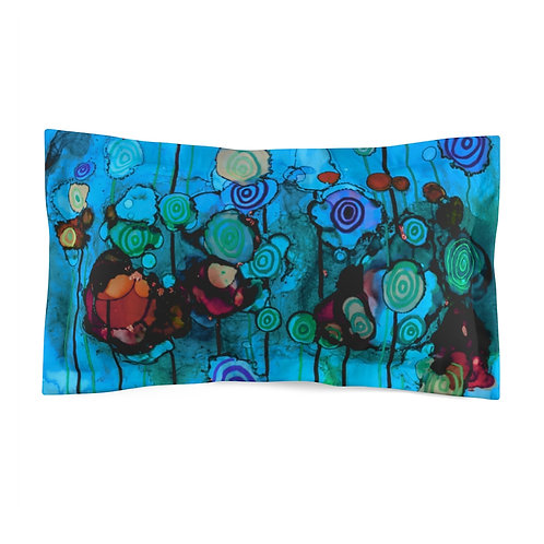 Microfiber Pillow Sham with Original Alcohol Ink Painting of Funky Lollipops