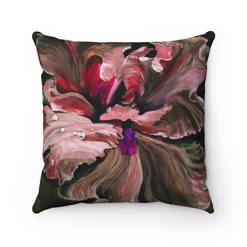 Spun Polyester Square Pillow with Original Painting of Iris