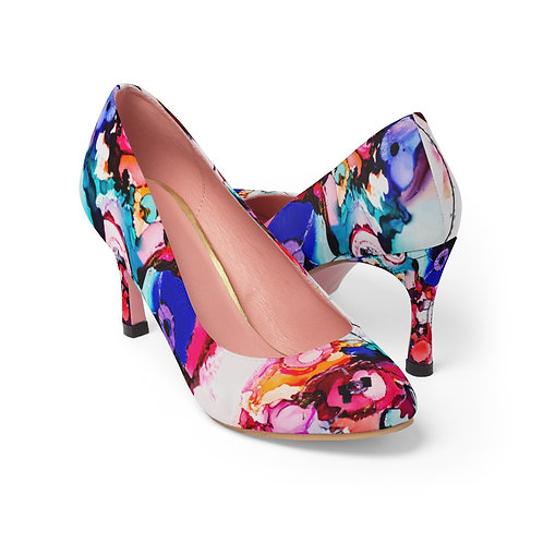 Women's High Heels with Original Alcohol Ink Painting of Funky Flowers
