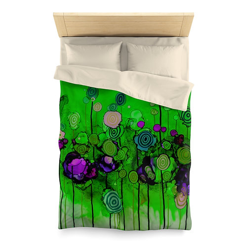 Microfiber Duvet Cover with Original Alcohol Ink Painting of Lollipops Green