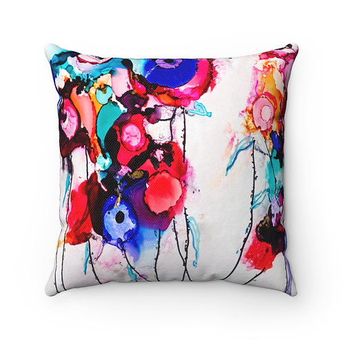 Spun Polyester Square Pillow with Original Alcohol Ink Painting of Flowers