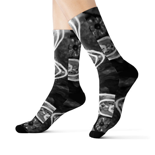 Sublimation Socks with Original Art by Rita B&W Swirls