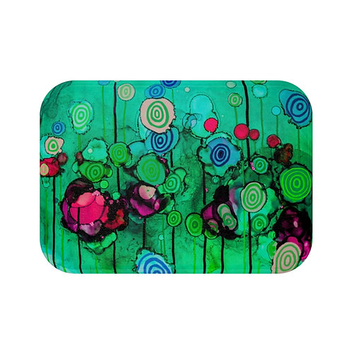 Bath Mat with Original Alcohol Ink Painting of Funky Lollipops