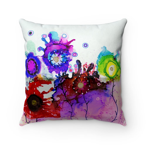 Spun Polyester Square Pillow with Original Alcohol Ink Painting of Funky Garden