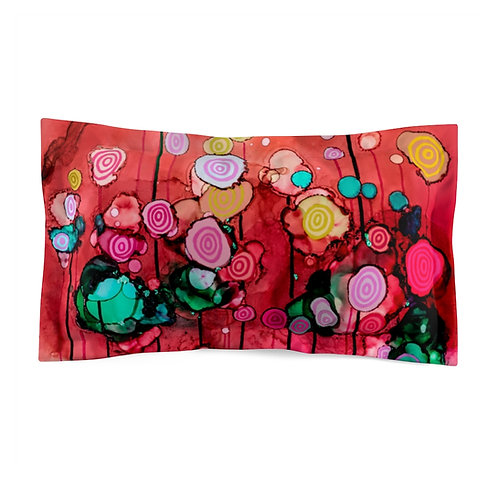 Microfiber Pillow Sham with Original Alcohol Ink Painting of Lollipops Pink