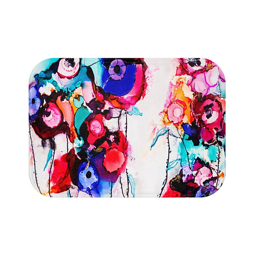 Bath Mat with Original Alcohol Ink Painting of Funky Flowers