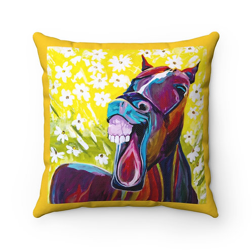 Spun Polyester Square Pillow with Original Painting of Laughing Horse