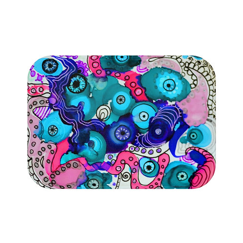 Bath Mat with Original Alcohol Ink Painting of Funky Eye Balls