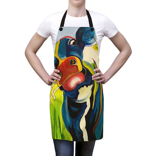 Apron with Original Painting of Funky Cow