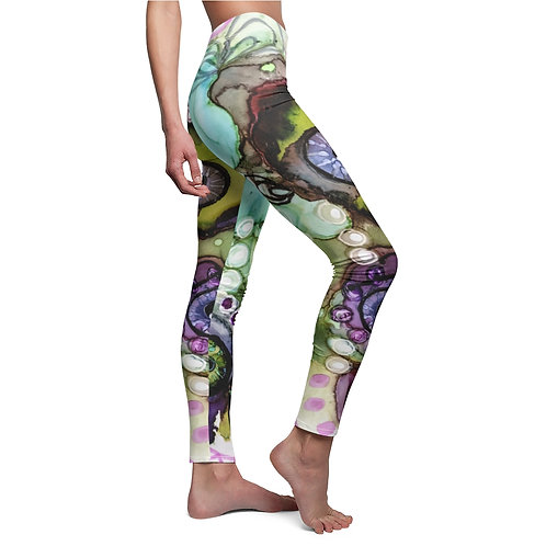 Women's Cut & Sew Casual Leggings with Original Alcohol Ink Painting Eye Balls