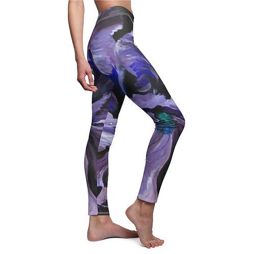 Women's Cut & Sew Casual Leggings with Original Painting of Blue Iris