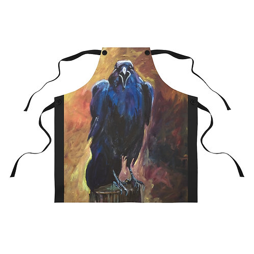 Apron with Original Painting of Crow