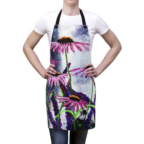 Apron with Original Painting of Echinacea Flower