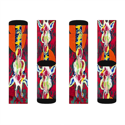 Sublimation Socks with Original Art by Rita - Giraffe