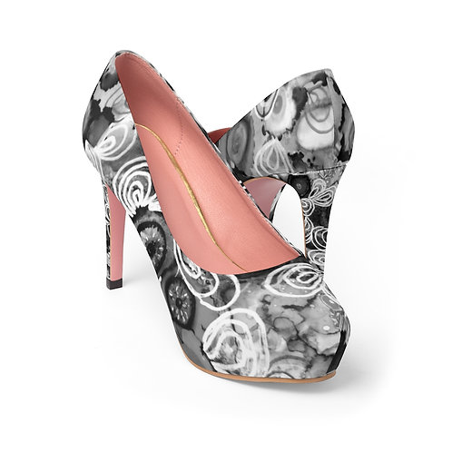 Women's Platform Heels with Original Alcohol Ink Painting Black and White