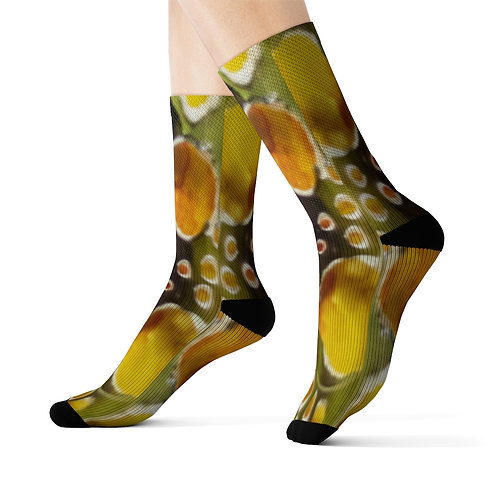 Sublimation Socks with Original Art by Rita - Yellow Orange Spots