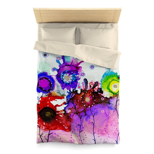 Microfiber Duvet Cover with Original Alcohol Ink Painting of Funky Garden