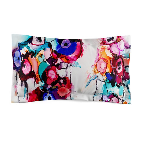 Microfiber Pillow Sham with Original Alcohol Ink Painting of Funky Flowers
