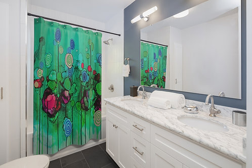 Shower Curtains with Original Alcohol Ink Painting of Funky Lollipops