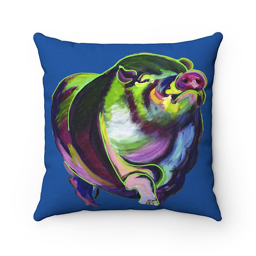 Spun Polyester Square Pillow with Original Painting of Pompous Pig
