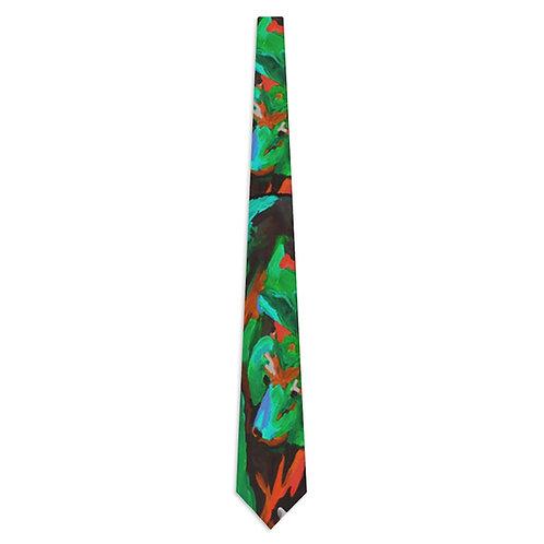 Necktie with Original Art by Rita - Green Bear