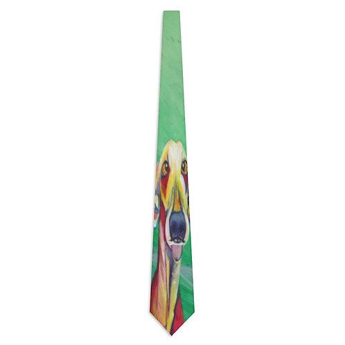 Necktie with Original Art by Rita - Teal Dog