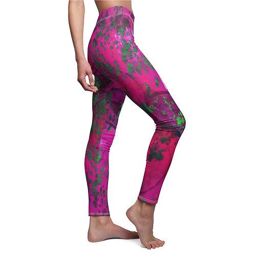 Women's Cut & Sew Casual Leggings with Original Gelly Print Pattern - Pink