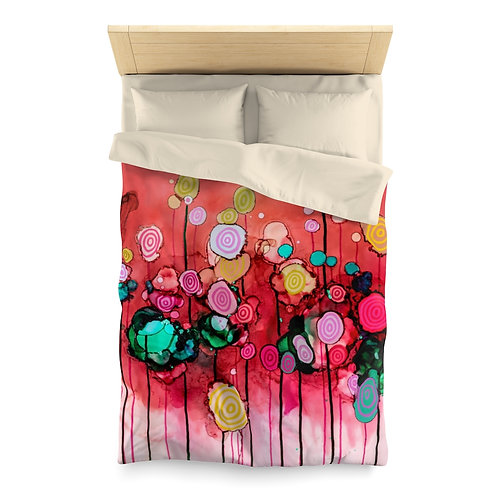 Microfiber Duvet Cover with Original Alcohol Ink Painting of Lollipops Pink