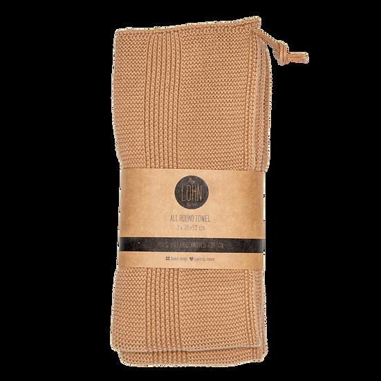 Strikket håndklæde (2 stk)