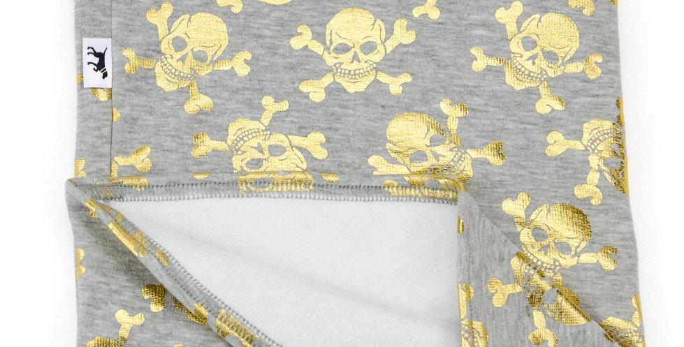 Loopschal für Hunde von Duftmarke mit Totenkopf in gold