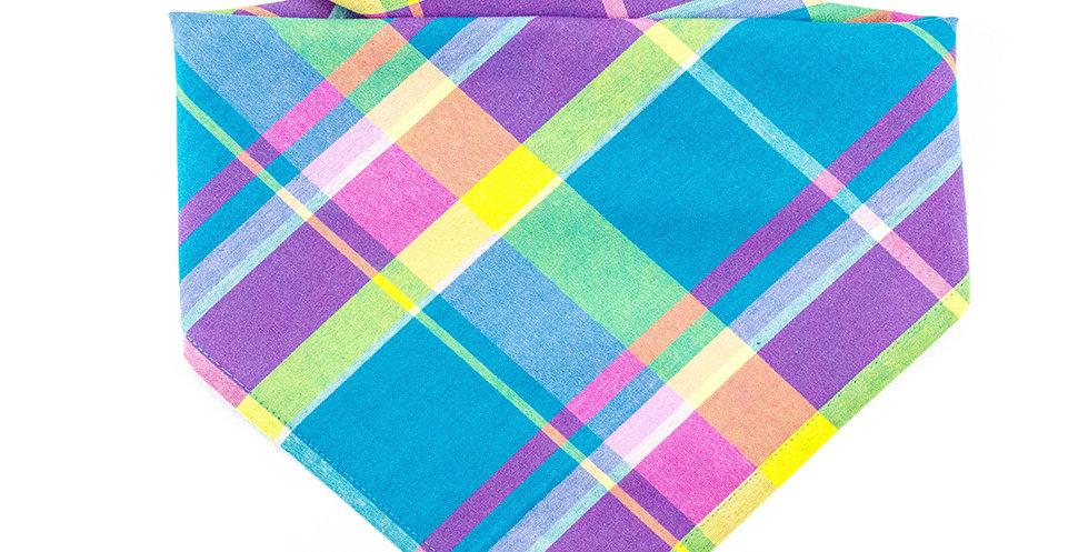 Halstuch, Bandana von Duftmarke für Hunde mit Karro Muster blau