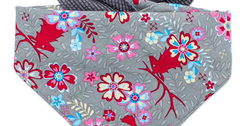 Halstuch für Hunde mit Cord und floralem Muster von Duftmarke