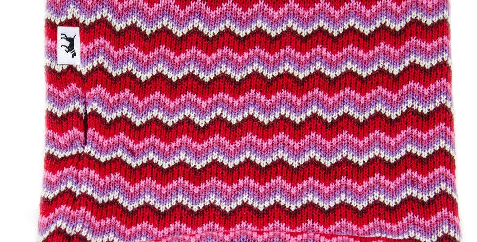 Loopschal für Hunde von Duftmarke mit Wolle und buntem Muster in rot und warm für den Winter