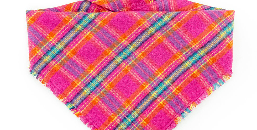 Halstuch Bandana für Hunde von Duftmarke aus Flanellstoff mit Karomuster in pink