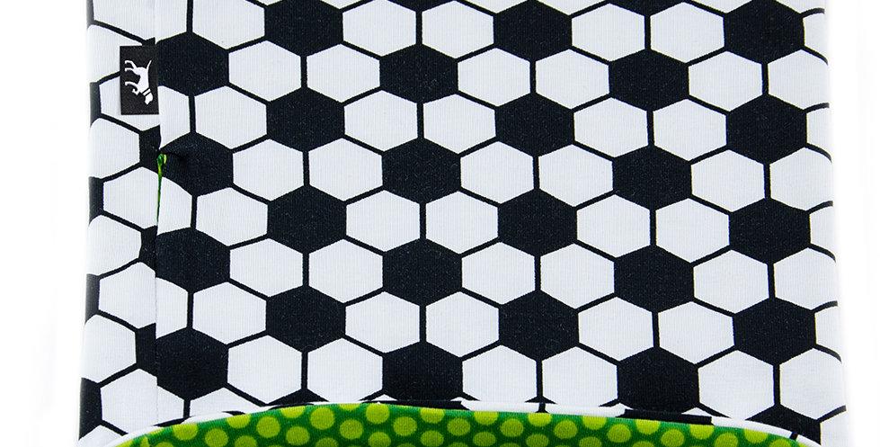Loopschal für Hunde von Duftmarke mit Fußball Muster schwarz weiss und grün