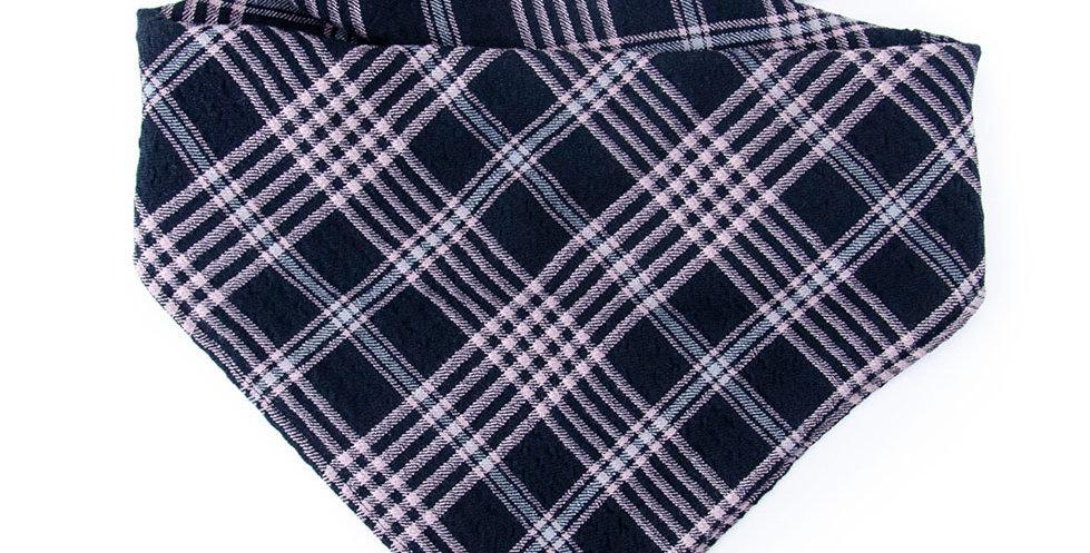 Bandana Halstuch von Duftmarke für Hunde mit Karo Muster und weichem Stoff in grau und pink
