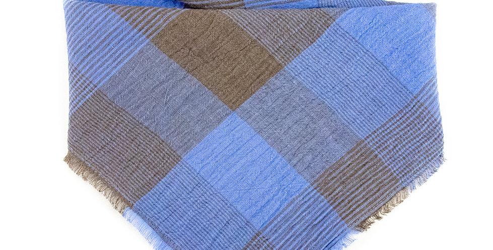 Halstuch, Bandana von Duftmarke für Hunde aus Leinen blau braun