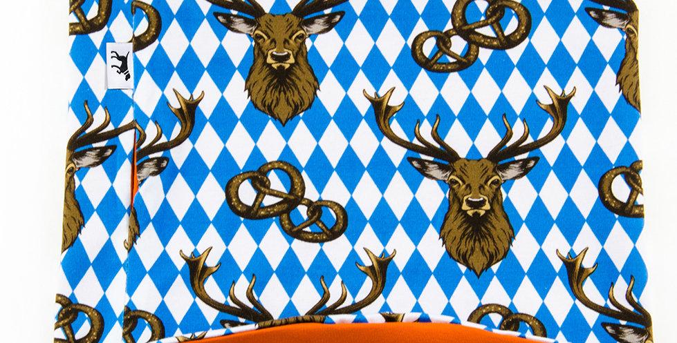 Loopschal für Hunde von Duftmarke im Oktoberfest Bayern Muster Brezel und Hirsch