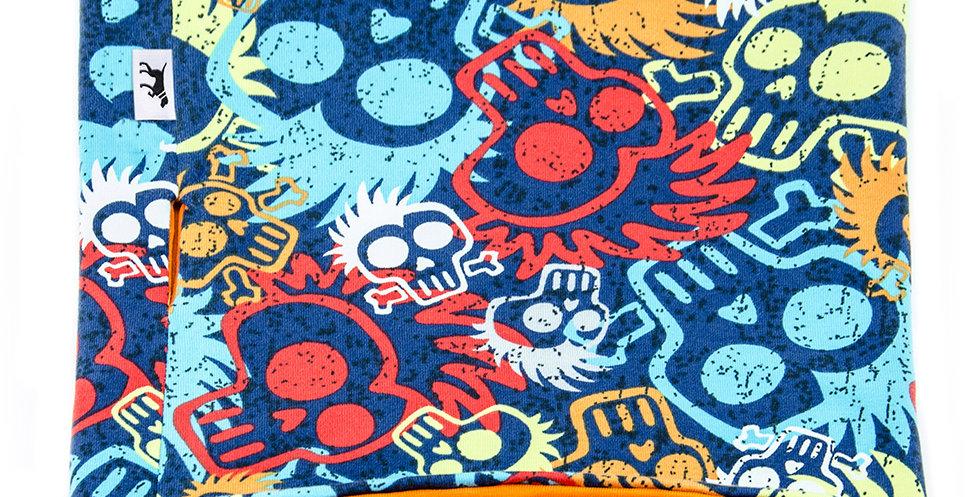 Loopschal für Hunde von Duftmarke mit Totenkopf und buten Farben